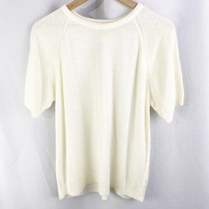 Lord & Taylor Short Sleeve Knit Sweater Ivory L